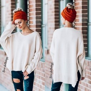 Oversized Side Slit Sweater Tunic - OATMEAL